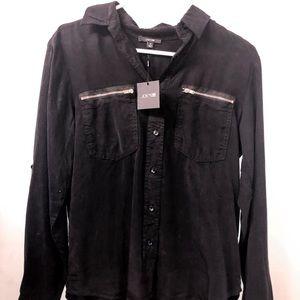 Joe's Jeans Zipper Pocket Blouse - Black